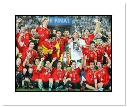 """(Spain) """"2008 European Championship Team Celebration with Trophy"""" Double Matted 8"""" x 10"""" Photograph"""