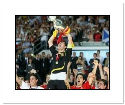 """Iker Casillas (Spain) """"2008 European Championship with Trophy"""" Double Matted 8"""" x 10"""" Photograph"""