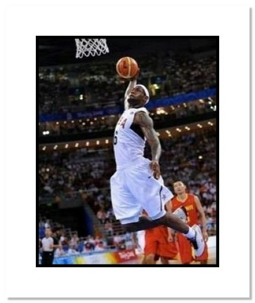"""LeBron James Olympics Team USA """"2008 Basketball Dunking"""" Double Matted 8"""" x 10"""" Photograph"""