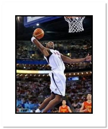 "Kobe Bryant Olympics Team USA ""2008 Basketball Dunking"" Double Matted 8"" x 10"" Photograph"