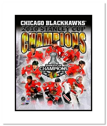 "Chicago Blackhawks NHL """"2010 Stanley Cup Champions Collage"""" Double Matted 8"""" x 10"""" Photograph"" AAA-11406M"
