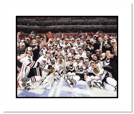 """Chicago Blackhawks NHL """"""""2010 Stanley Cup Champions Team Celebration"""""""" Double Matted 8"""""""" x 10"""""""" Photograph"""" AAA-11407M"""