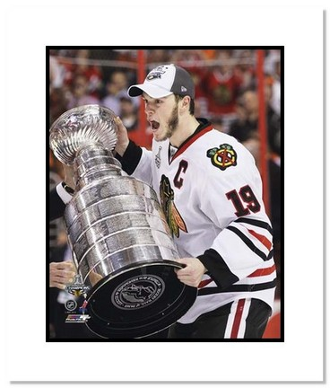 "Jonathan Toews Chicago Blackhawks NHL """"2010 Stanley Cup Trophy"""" Double Matted 8"""" x 10"""" Photograph"" AAA-11408M"