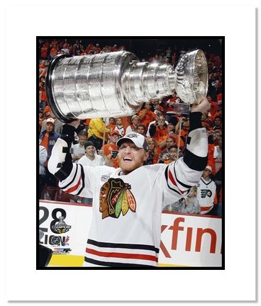 """Marian Hossa Chicago Blackhawks NHL """"""""2010 Stanley Cup Trophy"""""""" Double Matted 8"""""""" x 10"""""""" Photograph"""" AAA-11410M"""