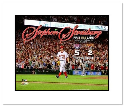 "Stephen Strasburg Washingtion Nationals MLB ""First Career Game"" Double Matted 8"" x 10"" Photograph"