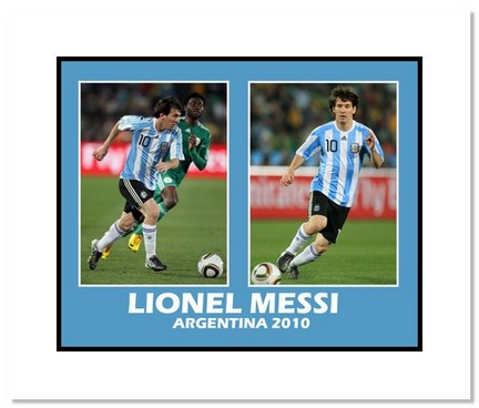 """Lionel Messi (Argentina) """"""""2010 at World Cup Double Collage"""""""" Double Matted 8"""""""" x 10"""""""" Photograph"""" AAA-11442M"""