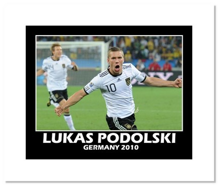 """Lukas Podolski (Germany) """"2010 at World Cup Goal"""" Double Matted 8"""" x 10"""" Photograph"""
