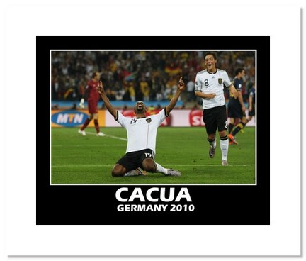 """Cacua (Germany) """"2010 at World Cup Goal"""" Double Matted 8"""" x 10"""" Photograph"""