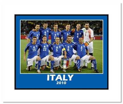 """2010 Team Italy """"World Cup Starting Eleven"""" Double Matted 8"""" x 10"""" Photograph"""