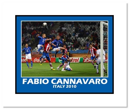 """Fabio Cannavaro (Italy) """"2010 at World Cup Header"""" Double Matted 8"""" x 10"""" Photograph"""