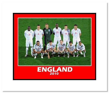 """2010 Team England """"World Cup Starting Eleven"""" Double Matted 8"""" x 10"""" Photograph"""