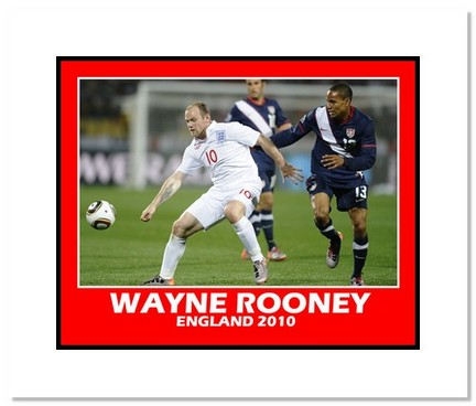 "Wayne Rooney (England) """"2010 at World Cup vs. USA"""" Double Matted 8"""" x 10"""" Photograph"" AAA-11453M"