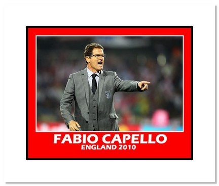 """Fabio Capello (England) """"2010 at World Cup vs. USA"""" Double Matted 8"""" x 10"""" Photograph"""