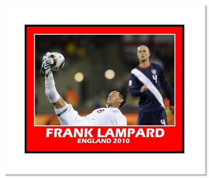 """Frank Lampard (England) """"2010 at World Cup vs. USA"""" Double Matted 8"""" x 10"""" Photograph"""