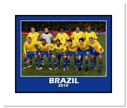 "2010 Team Brazil """"World Cup Starting Eleven"""" Double Matted 8"""" x 10"""" Photograph"" AAA-11463M"