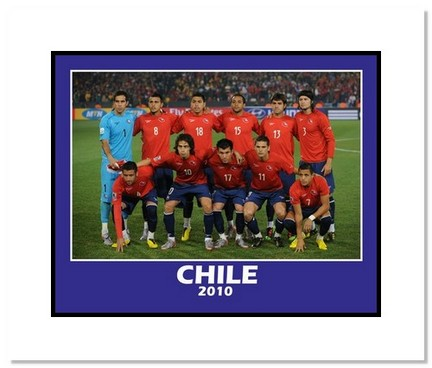 "2010 Team Chile ""World Cup Starting Eleven"" Double Matted 8"" x 10"" Photograph"