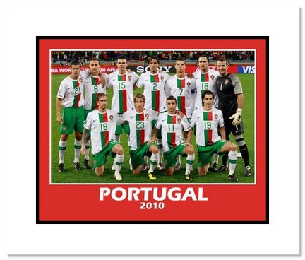 """2010 Team Portugal """"World Cup Starting Eleven"""" Double Matted 8"""" x 10"""" Photograph"""