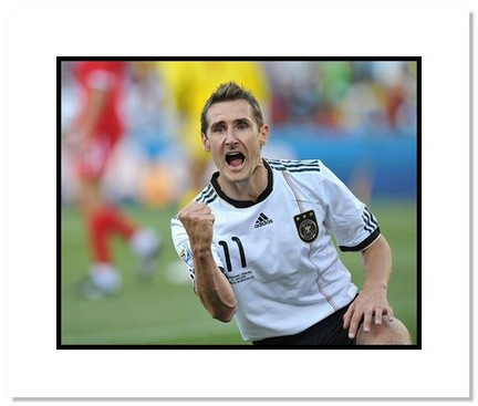 """Miroslav Klose (Germany) """"2010 at World Cup Fist Pump"""" Double Matted 8"""" x 10"""" Photograph"""