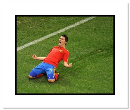 """David Villa (Spain) """"2010 at World Cup Celebration"""" Double Matted 8"""" x 10"""" Photograph"""