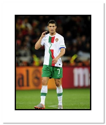 """Cristiano Ronaldo (Portugal) """"2010 at World Cup"""" Double Matted 8"""" x 10"""" Photograph"""