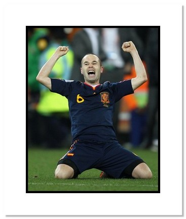 """Andres Iniesta (Spain) """"2010 at World Cup Goal Celebration"""" Double Matted 8"""" x 10"""" Photograph"""