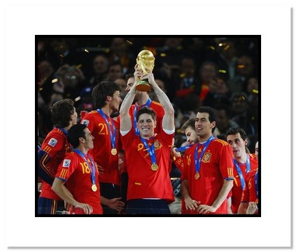 "Fernando Torres (Spain) ""2010 at World Cup Trophy"" Double Matted 8"" x 10"" Photograph"