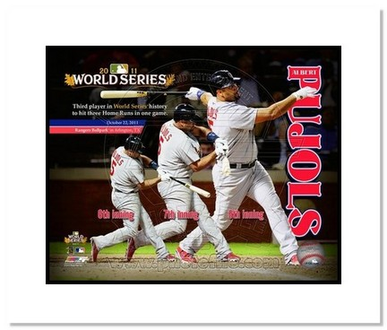 "Sporting Goods Stores Albert Pujols St. Louis Cardinals 2011 World Series ""3 Home Run Game Collage"" Double Matted 8"" x 10"" Photograph (Unframed)"