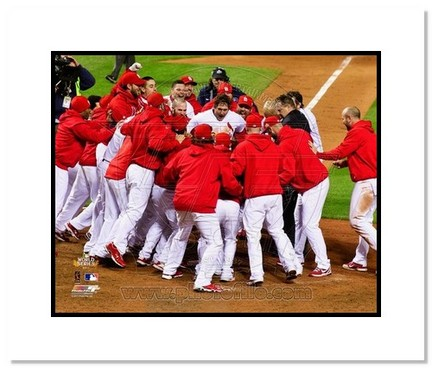 """David Freese 2011 World Series """"Game 6 Walk Off Celebration"""" Double Matted 8"""" x 10"""" Photograph (Unfr"""
