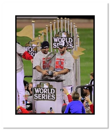 "Sporting Goods Stores Albert Pujols and Lance Berkman St. Louis Cardinals 2011 World Series ""Trophy"" Double Matted 8"" x 10"" Photograph (Unframed)"