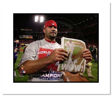 "Sporting Goods Stores Albert Pujols St. Louis Cardinals 2011 World Series ""Newspaper Headline"" Double Matted 8"" x 10"" Photograph (Unframed)"