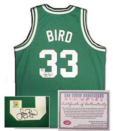 Larry Bird Boston Celtics NBA Autographed Authentic Style Away Green Basketball Jersey AAA-75055