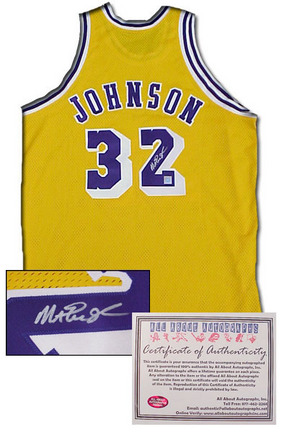Magic Johnson Los Angeles Lakers NBA Autographed Authentic Style Away Gold Basketball Jersey AAA-75059