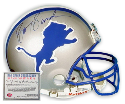Barry Sanders Detroit Lions NFL Autographed Full Size Deluxe Replica Football Helmet