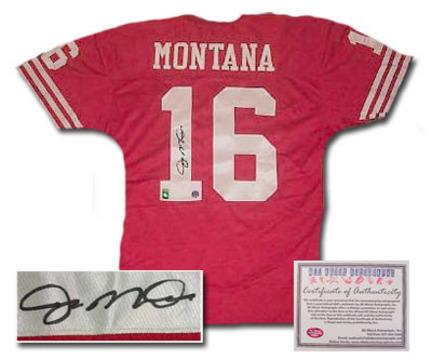 a506ec08006 Kansas City Chiefs Autographed Jerseys. Joe Montana San Francisco 49ers NFL Autographed  Authentic Away Red Football Jersey