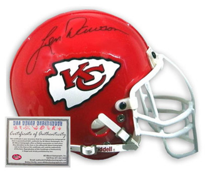 Len Dawson Kansas City Chiefs NFL Autographed Mini Replica Football Helmet AAA-75111