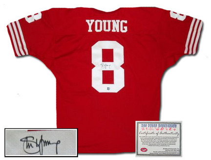 Steve Young San Francisco 49ers NFL Autographed Authentic Style Away Red Football Jersey