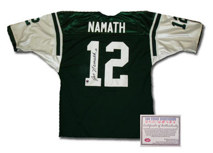 Joe Namath New York Jets NFL Autographed Authentic Style Home Green Football Jersey