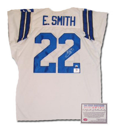 Emmitt Smith Dallas Cowboys NFL Autographed Authentic Style Home White Football Jersey