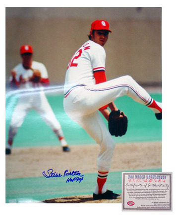 "Steve Carlton St. Louis Cardinals MLB Autographed ""Pitching"" 16"" x 20"" Photograph with ""HOF 94&"