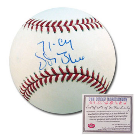 "Vida Blue Autographed Rawlings MLB Baseball with ""71 Cy"" Inscription"
