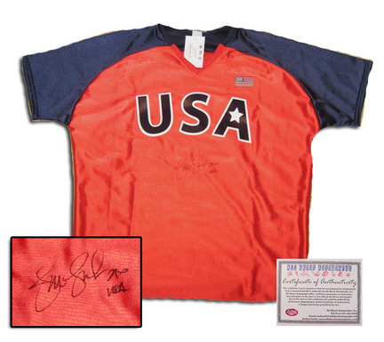 "Jennie Finch Autographed Team USA Olympics Red Softball Jersey with """"USA"""" Inscription (Red)"" AAA-75810"