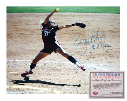 "Jennie Finch Autographed 8"""" x 10"""" Olympics Pitching Photograph with """"#27"""" Inscription (Unframed)"" AAA-75813"