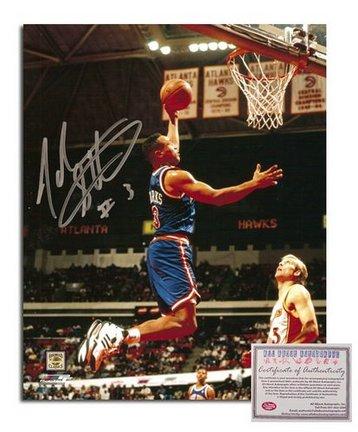 "John Starks New York Knicks Autographed 8"""" x 10"""" Blue Jersey Dunking Photograph with #3"""" Inscription (Unframed)"" AAA-75817"
