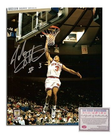 "John Starks New York Knicks Autographed 8"" x 10"" White Jersey Dunking Photograph with ""#3"" Inscripti"