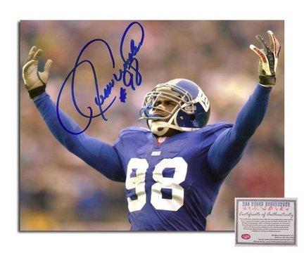 "Jesse Armstead New York Giants Autographed 8"" x 10"" Arms Raised Photograph with ""#98"" Inscription (U"