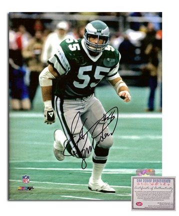 "Frank LeMaster Philadelphia Eagles Autographed 8"" x 10"" Green Jersey Photograph with ""#55"" Inscripti"