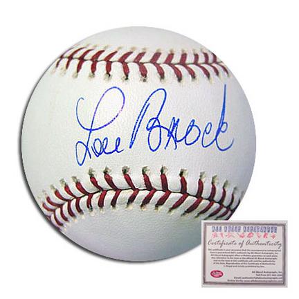 Lou Brock St. Louis Cardinals Autographed Rawlings MLB Baseball