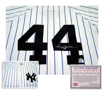 Reggie Jackson New York Yankees Autographed Rawlings Authentic Style Home MLB Baseball Jersey (White Pinstripe)