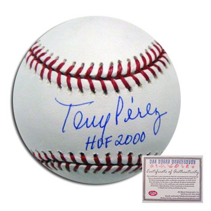 "Tony Perez Cincinnati Reds Autographed Rawlings MLB Baseball with ""HOF 2000"" Inscription"