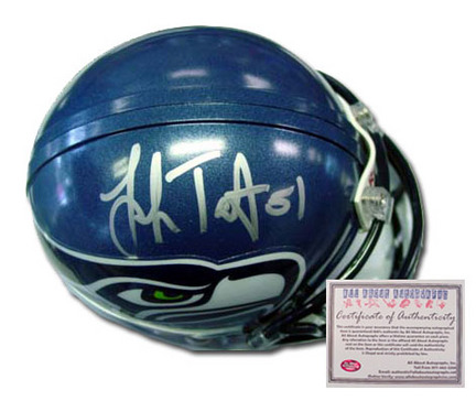 "Lofa Tatupu Seattle Seahawks Autographed Riddell Mini Football Helmet with ""51"" Inscription"